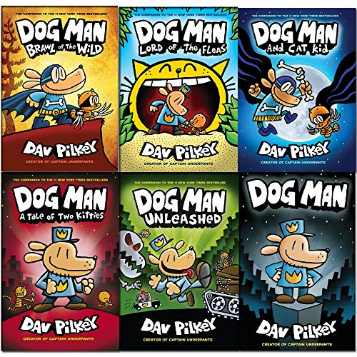 Dav Pilkey Adventures of Dog Man Series 1-6 Books Collection Set (Dog Man, Unleashed, A Tale of Two Kitties, Dog Man and Cat Kid [Hardcover], Lord of the Fleas [Hardcover], Brawl of the Wild [Hardcove ()