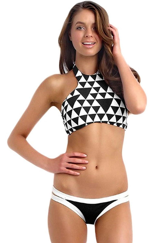 NICE BUY Damen Halter Badeanzüge Neckholder Sport Bikini Sets
