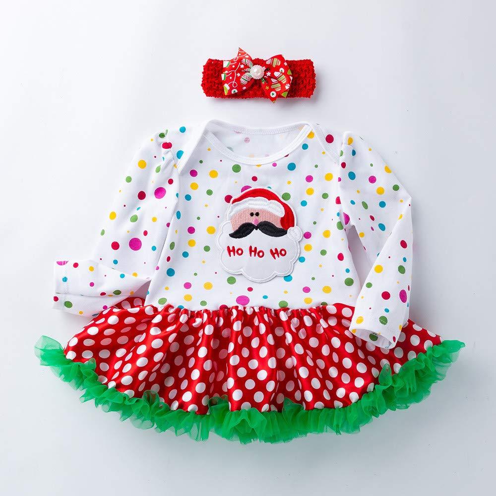 Clearance 2pcs Newborn Baby Girls Christmas Princess Tutu Skirt Dress Lace Dot Santa Claus Romper Dresses Outfits Set