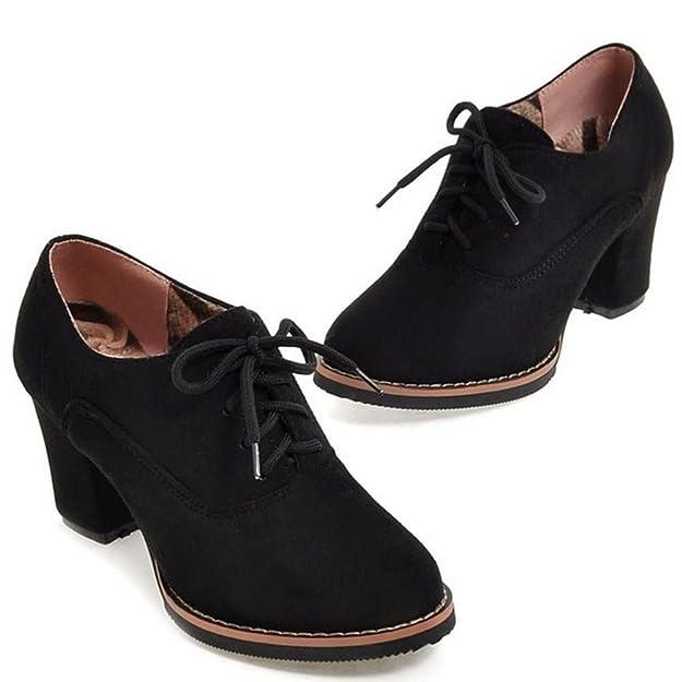 Amazon.com | RAZAMAZA Women Autumn Winter Block Heels Lace-up Classic Booties | Shoes