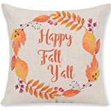 Pumpkin Maple Leaf Wreath Happy Fall Vintage Letters Happy Thanksgiving Halloween New Home Room Sofa Car Decorative Cotton Linen Throw Pillow Case Cushion Cover Square 18 X 18 Inches