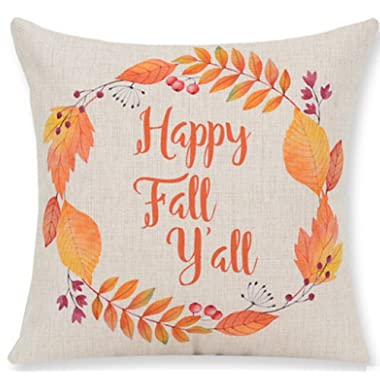 Andreannie Pumpkin Maple Leaf Wreath Happy Fall Vintage Letters Happy Thanksgiving Halloween New Home Room Sofa Car Decorative Cotton Linen Throw Pillow Case Cushion Cover Square 18 X 18 Inches