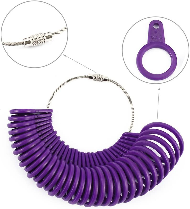 purple TW Jewelry Tool Ring Sizer Finger Size Gauge Ring Basic Jewelry Measurement Tool Suitable for UK Size A to Z Jeweler Size Loop