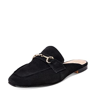 b09b13870d0 YDN Women Casual Backless Mules Loafer Slippers Closed Square Toe Slip On  Flat Slide Shoes Black