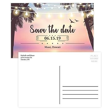 Amazon Com Custom Beach Party Save The Date Invitation Postcard
