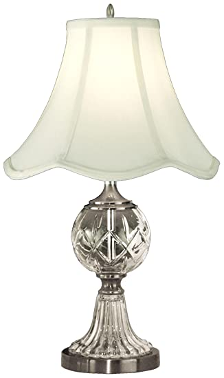 dale crystal table lamp pewter fabric shade vintage waterford base australia marston bases
