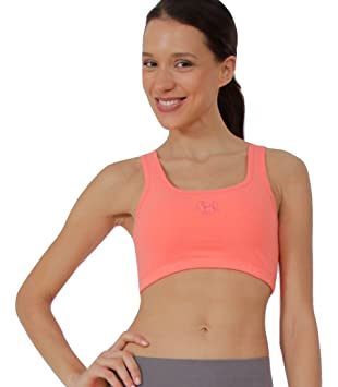 "Prancing Leopard Mujer Yoga Sports Bh ""Figuera algodón bio Fitness Front Animales, coral"