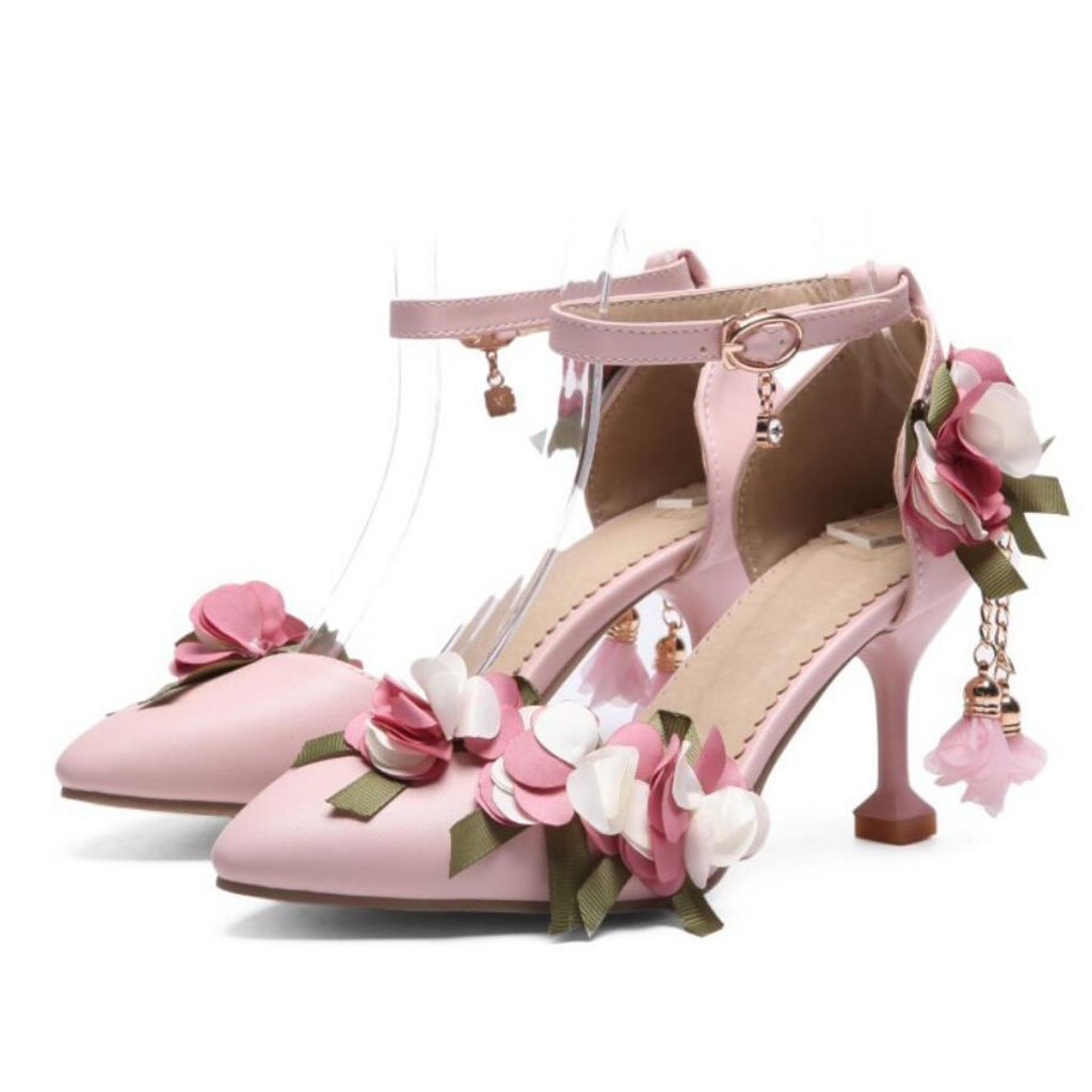 Pink FLYSXP Women's PU Points to High Heels Summer Sweet Flowers with Buckle Sandals with Court shoes Large Size 34-43 Women's shoes (color   Pink, Size   34)