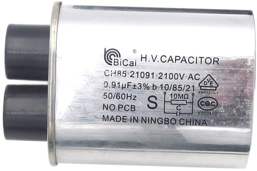 Meter Star CQC Universal Household Microwave HV Capacitor Replacement 2100V 0.91uF MFD Compatible ch85 21091 AC H.V.Capacitor 10/85/21 50/60Hz NO PCB