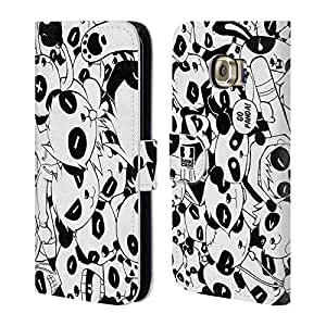 Head Case Designs Panda Doodle Galore Leather Book Wallet Case Cover for Samsung Galaxy S6 Edge