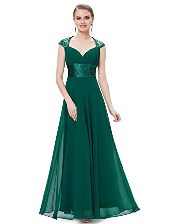 Ever Pretty Womens V Neck Ruched Bust Long Evening Dress 4 US Green