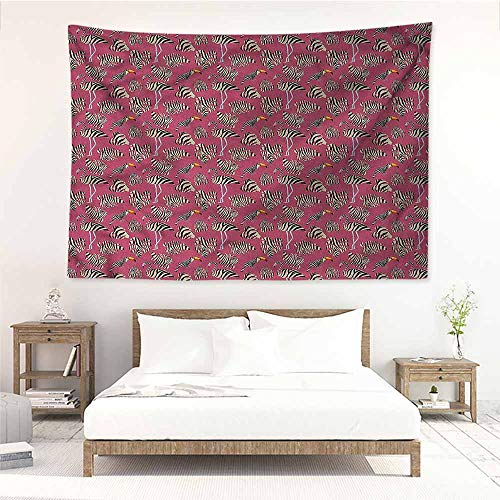 (Sunnyhome Tapestry Wall Hanging,Pink Zebra Flamingo Toucan Bird,Wall Hanging Carpet Throw,W60x51L)