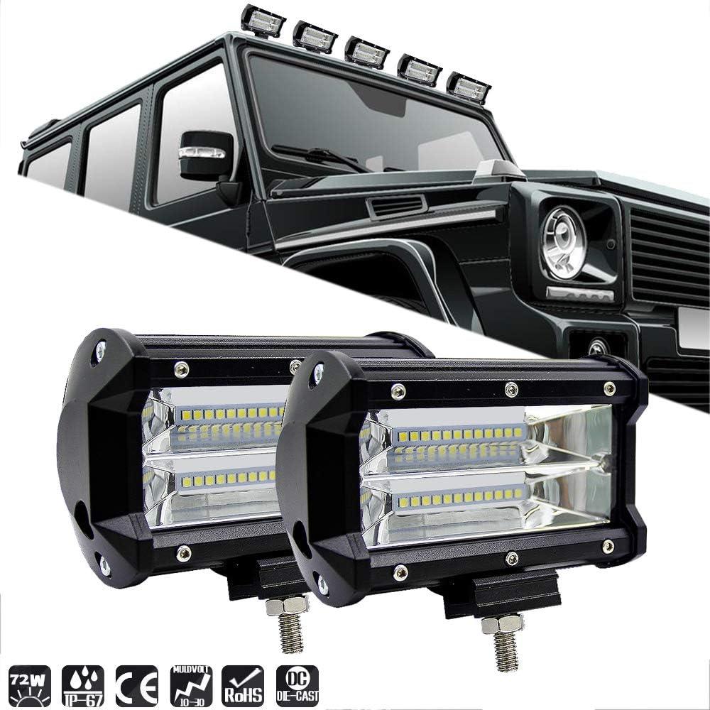 Ricoy - Barras de luz LED de 17,78 cm, 2 unidades, 240 W, luces de conducción todoterreno, combinación de haz amplio y haz concentrado