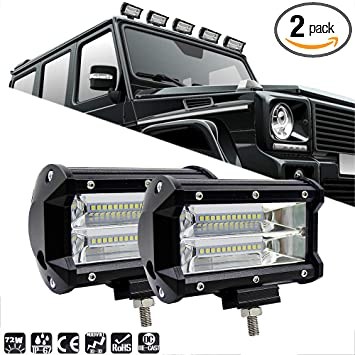 """2x 5/""""INCH 144W LED Work Light Bar Spot Pods Driving OffRoad Tractor 4WD ATV 12V"""