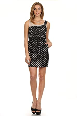 Meshme Womens Liza Black And White Striped Dress With One Shoulder