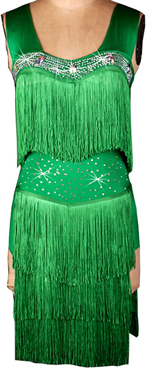 フルNiceレディースラテンダンスパフォーマンスフリンジClothingノースリーブタッセルダンスドレス グリーン XX-Large