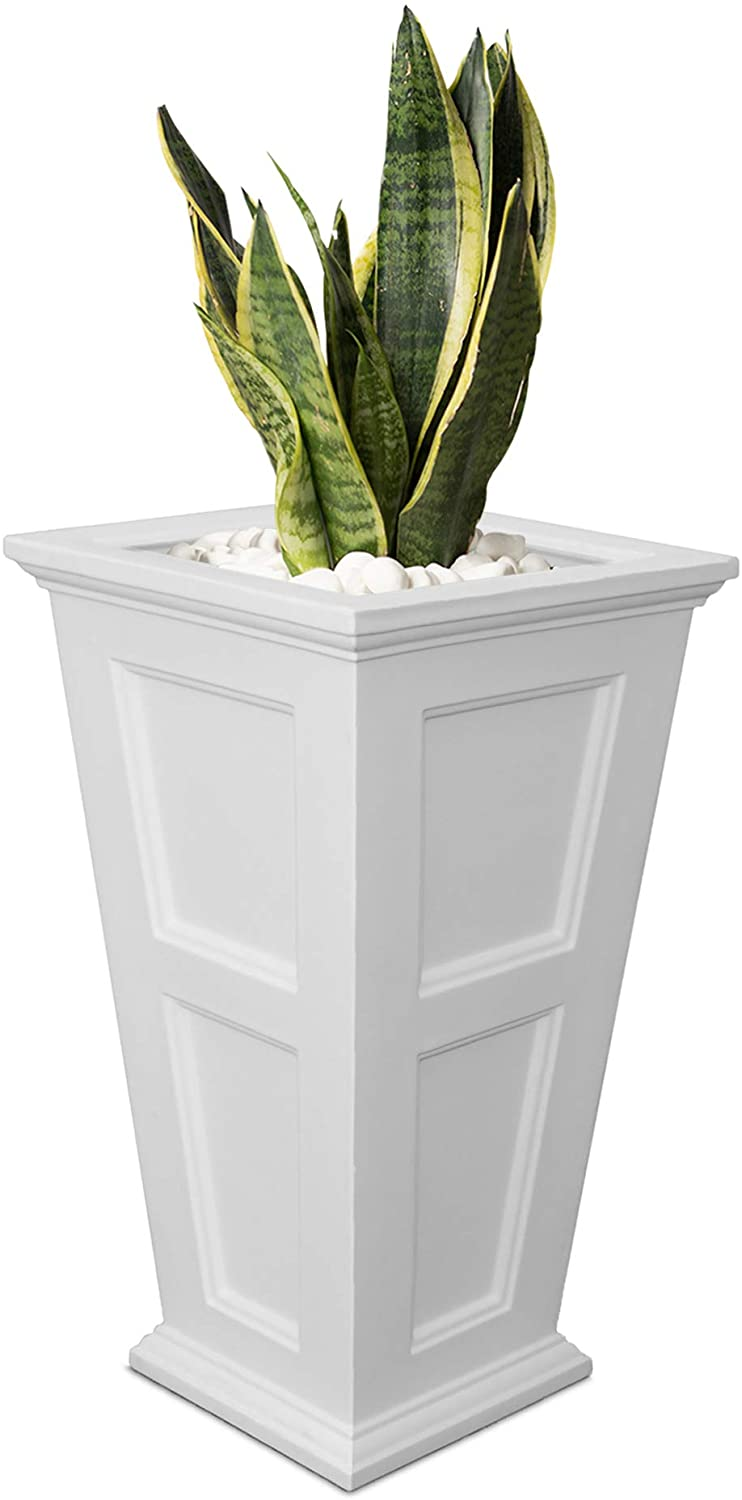 Mayne Fairfield 5829W Tall Planter, 28-Inch by 16-Inch by 16-Inch, White