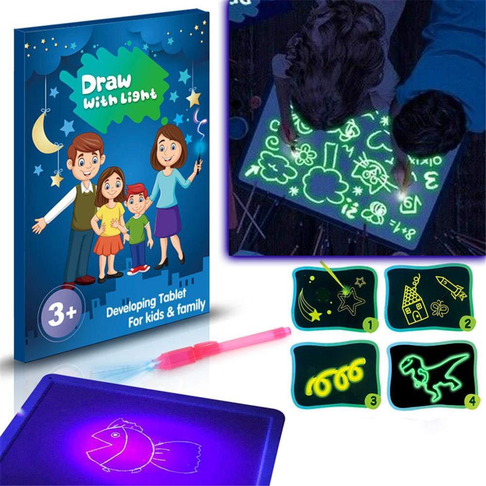 Tablero de Dibujo Tablero de Dibujo Fluorescente Claro Doodle Drawing with Light Fun Magic Painting Tablero de Dibujo Juguete para ni/ños Draw Sketch Doodling