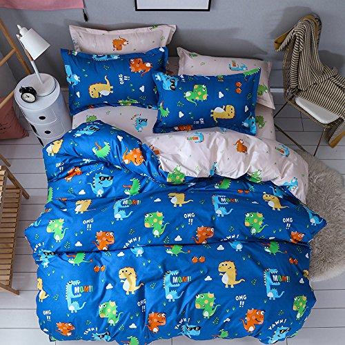 Chesterch Prevoster ティーン 寝具 男の子 恐竜プリント - ツイン 子供用 掛け布団カバーセット ブルー 3点セット (掛け布団カバー1枚と枕カバー2枚) - ソフト 掛け布団なし ツイン ブルー B07NZ7TRQM  ツイン