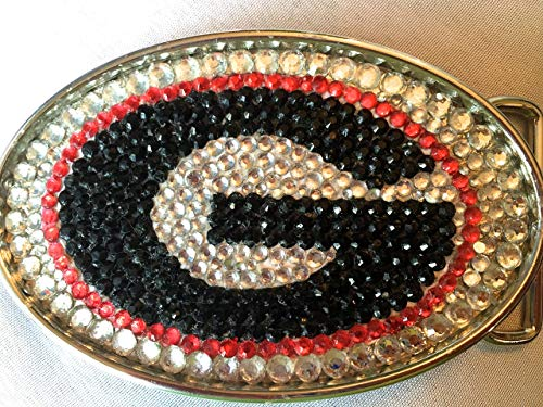 Rhinestone Belt Buckle in Collegiate Style