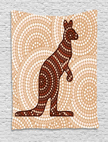 - Ambesonne Animal Decor Tapestry, Abstract Aboriginal Native Kangaroo with Ancient Circling Dots Around Ethnic Design, Bedroom Living Room Dorm Decor, 40 W x 60 L inches, Cream Brown