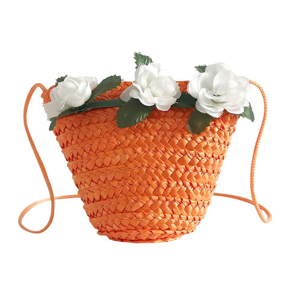 Women's Fashion Flower Decorative Bag Woven Children's Bag Messenger Bag
