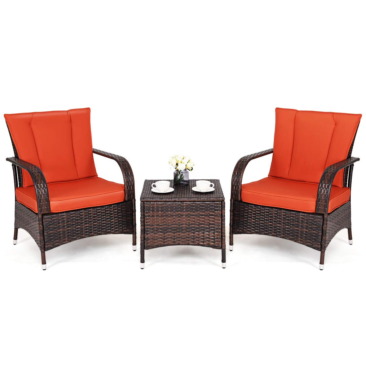 Tangkula 3 Piece Patio Furniture Set Wicker Rattan Outdoor Patio Conversation Set with 2 Cushioned Chairs End Table Backyard Garden Lawn Chat Set Chill Time Modern Outdoor Furniture Orange