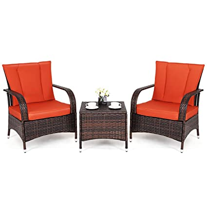 Phenomenal Tangkula 3 Piece Patio Furniture Set Wicker Rattan Outdoor Patio Conversation Set With 2 Cushioned Chairs End Table Backyard Garden Lawn Chat Set Home Interior And Landscaping Staixmapetitesourisinfo