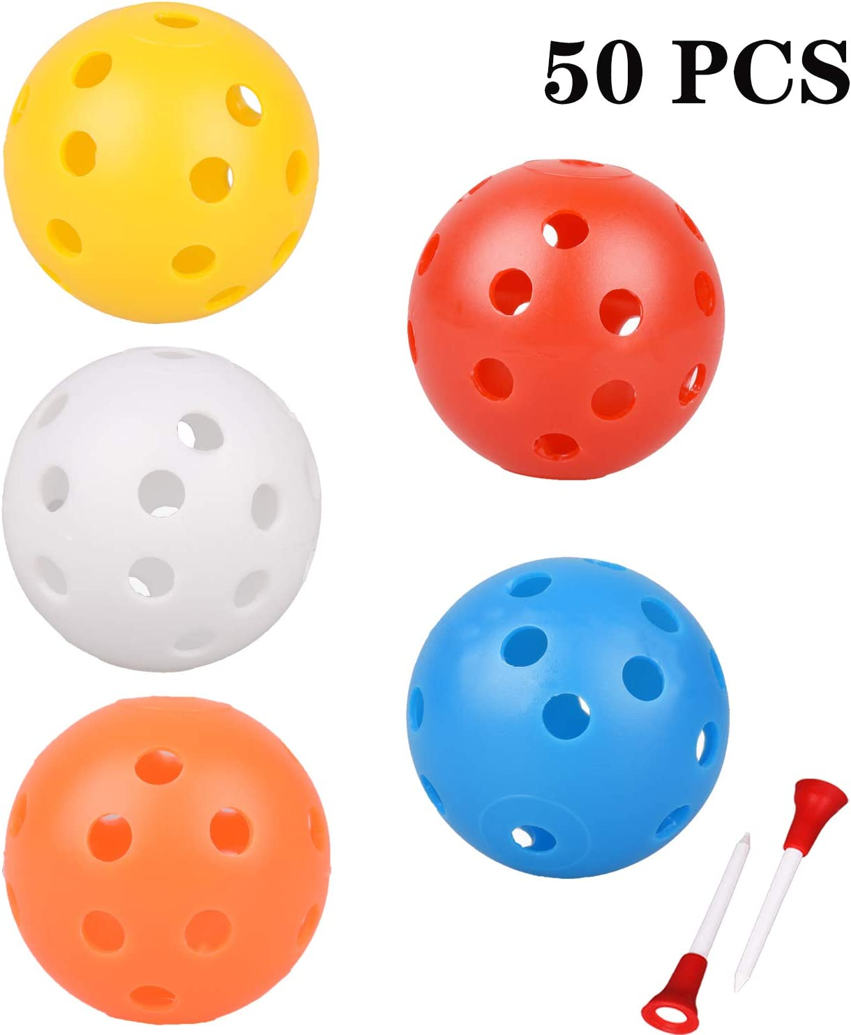 Adwikoso Plastic Golf Training Balls 42 mm Golf Balls for Indoor Putting Green Backyard Outdoor Practice Equipment with 2 Golf Ball Tees