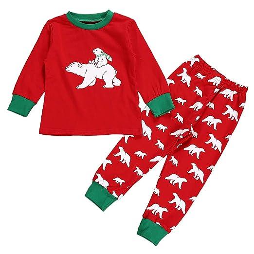 09d1332b3 Amazon.com: Kid Boy Girls Pajamas Set Long T Shirt + Pants Xmas Homewear  Sleepwear Clothes: Clothing