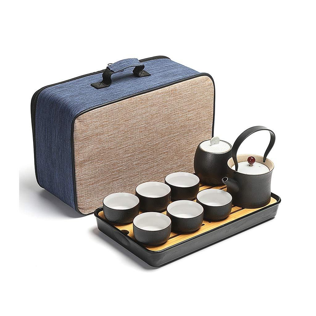 Tea sets Japanese Minimalist Black Ceramic Teapot, Travel Outdoor Travel Teapot and 6 Teacup, Kung Fu Tea Set of 8 by Tea sets (Image #2)