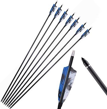 """Carbone 12PCS ARROW 32/"""" Spine 350 Vis Tips Composé Recourbé Arc Archery US"""