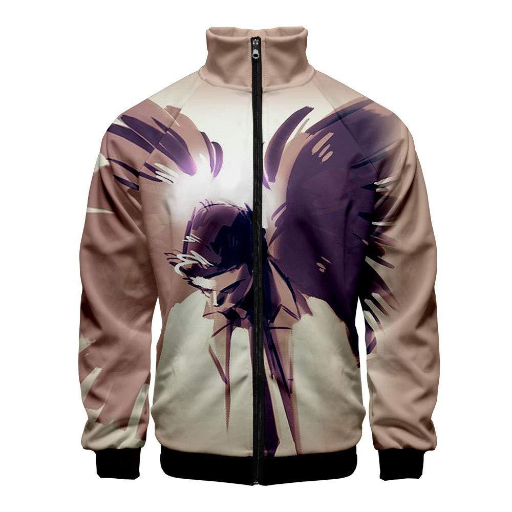 Zanlamens Supernatural Perimeter Personality Erect Collar Zipper Coat Long Sleeve Mens Fall
