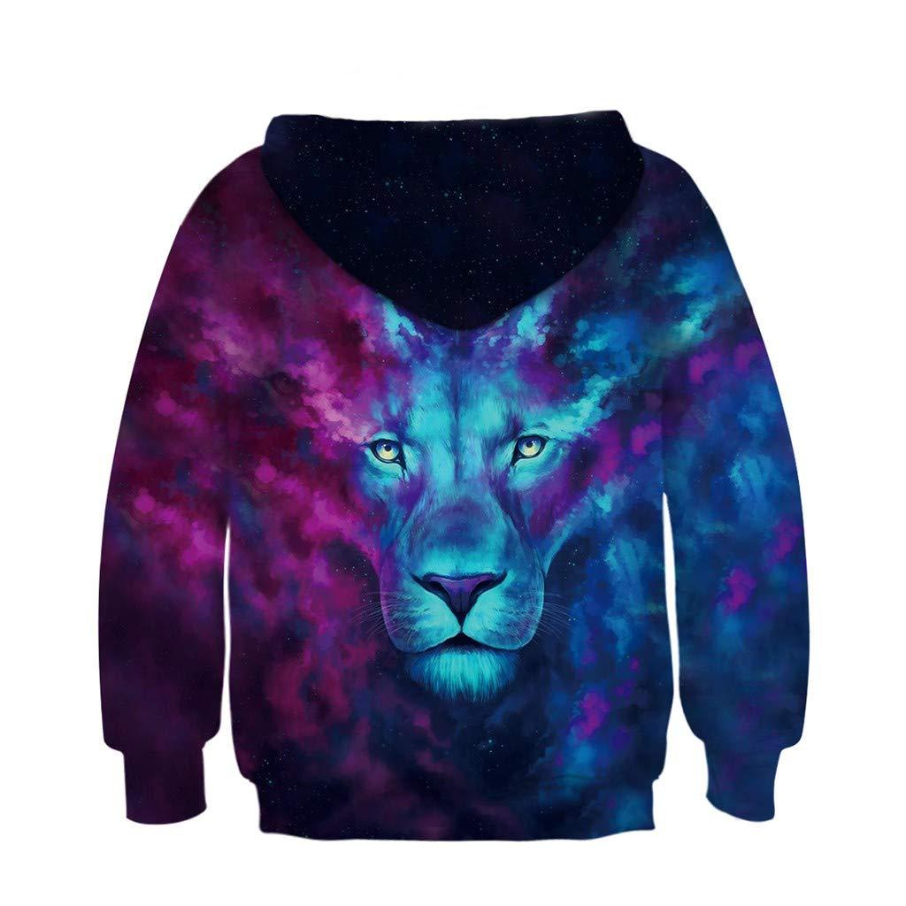 Sameno Fashion Teen Kids Girl Boy Lion Fleece Print Cartoon Sweatshirt Pocket Pullover Hooded
