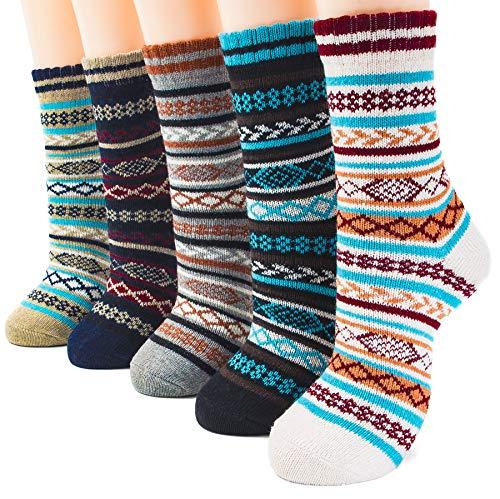 (Packs of 5 Crew Socks Women Wool Fuzzy Winter Colored Knit Sox Striped)