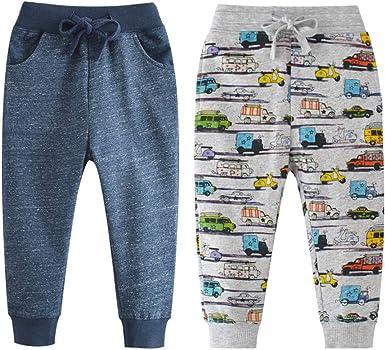 Little Boys Jogger Pants Toddler Boys Drawstring Elastic Waist Cotton Casual Sweatpants 2 PCS Set