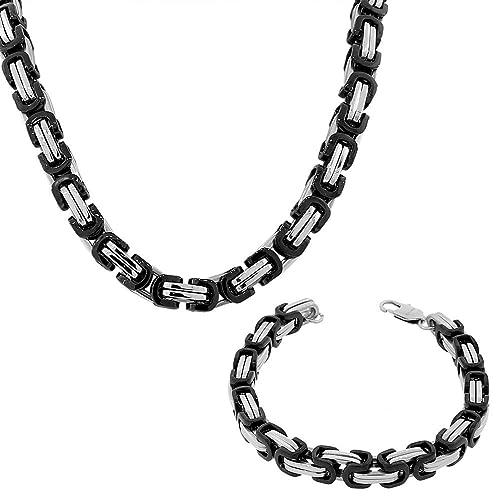 Amazon.com: edforce Acero Inoxidable Silver-tone Negro Mens ...