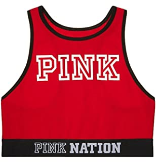 ff5f92a2f0a00 Victoria s Secret Pink Logo Racerback Log Trim Bra Black at Amazon ...