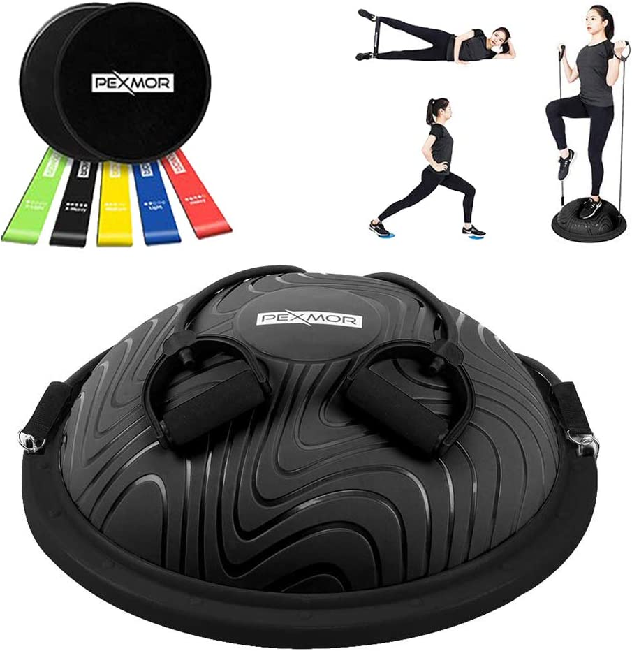 """Details about  /23/"""" Balance Ball Trainer Half Yoga Exercise Ball Fitness Home Gym Workout w//Pump"""