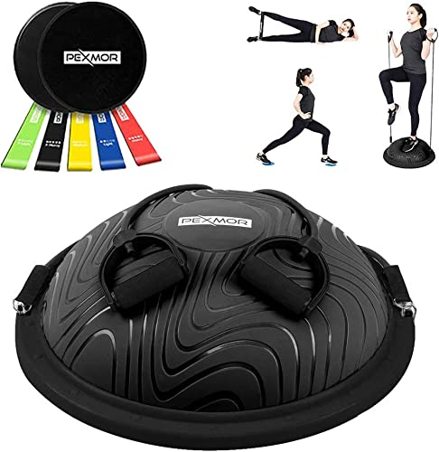 PEXMOR Latest Version Balance Ball, Sport Balance Trainer with Resistance Band, Yoga Half Ball for Home Gym Training Workout, with Exercise Loop Core Sliders