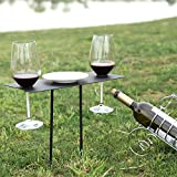 MyGift Black Metal Portable Mini Picnic Table In-Ground Stake with 2 Stemware Holder
