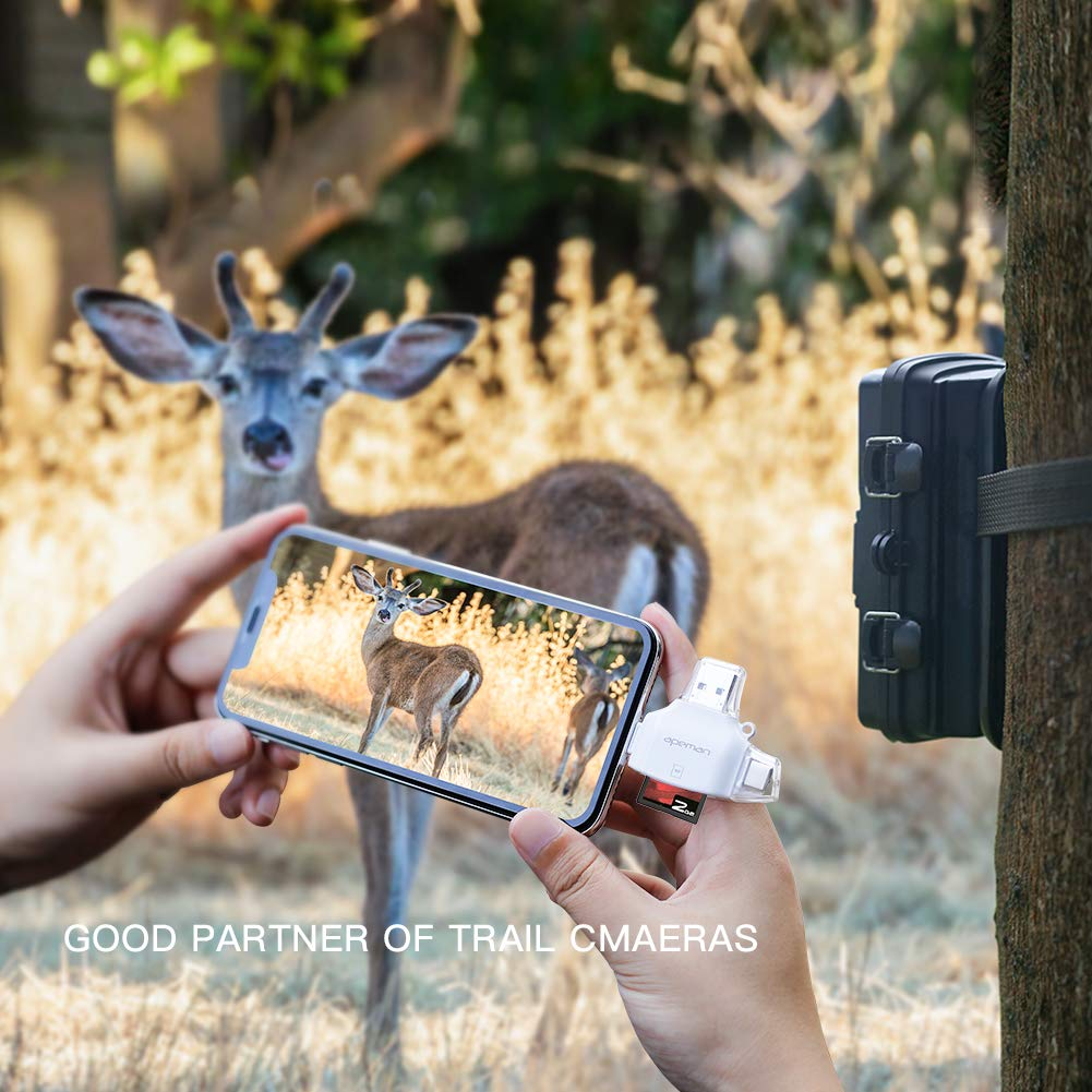 USB C Picture and Video Viewer for Trail Camera APEMAN 4 in 1 SD//Micro SD Card Reader for iPhone//iPod//iPad//Type-C//Android Memory Card Adapter with Lightning Micro USB USB 4 Interfaces
