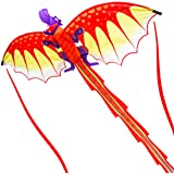ZHONGRAN Children Kite, Huge Dragon Kite for Kids and Adults, 127x56 inch 3D Nylon Kites for Boys Girls,Single Line with Long Tail Easy to Fly and Assemble, Portable Outdoor Flying Toys