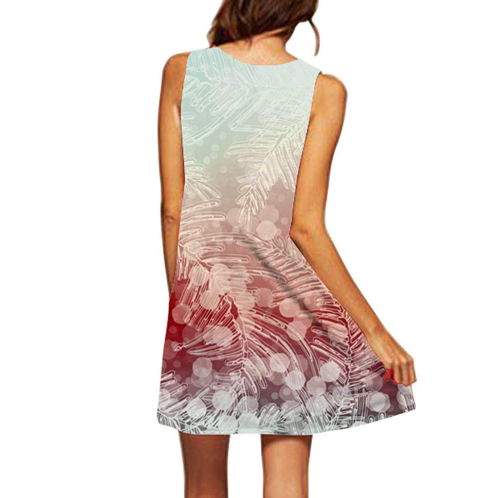 KESEELY Womens Summer Casual Sleeveless Printed Vintage Boho Swing T Shirt Short Mini Dress