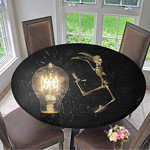 Mikihome Modern Simple Round Tablecloth Horrifying Vintage Halloween Themed Skeleton Jumping Past Lightbulb Decoration Washable 63
