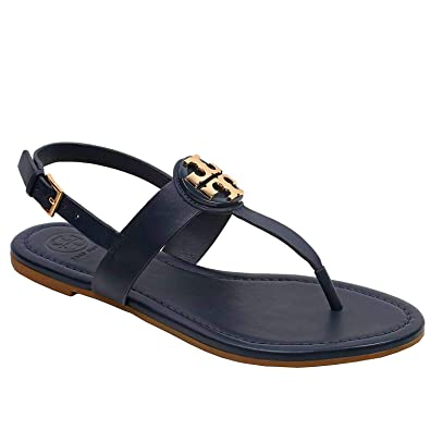 83e7a4f79 Tory Burch Women s 43066 Bryce Vegan Leather Flat Thong Sandals Bright Navy  (US ...