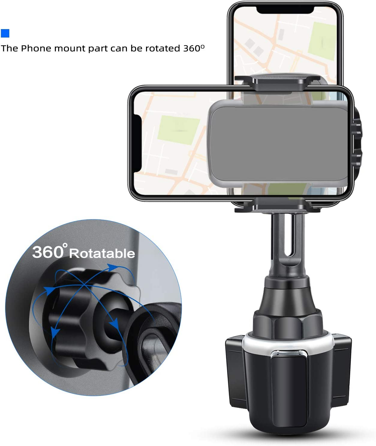 Car Cup Holder Phone Mount Adjustable Long Pole Stable Cell Phone Holder Automobile Cup Car Mount for Smartphone iPhone 11 Pro//XR//Xs//XS Max//X//8//7Plus//Galaxy//Xperia//Samsung