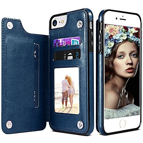 iPhone 6S Plus Wallet Case,iPhone 6 Plus Flip Case for Women/Men,iPhone 6s Plus Purse Case,Auker Vintage Leather Folio Flop Secure Fit Magnetic Closure Folding Case with Wallet/Card Holder
