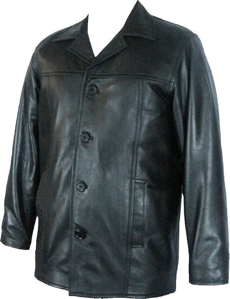 UNICORN Hombres Genuino real cuero chaqueta Estilo clásico Chaquetón Negro #N8