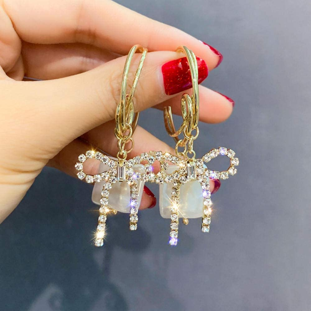 Erin Earring Pendientes De Diamantes De Imitación De Japón Y Corea del Sur Pendientes De Perlas De Agua Dulce Cuadrados Pendientes De Aro De Oro Regalo De Damas